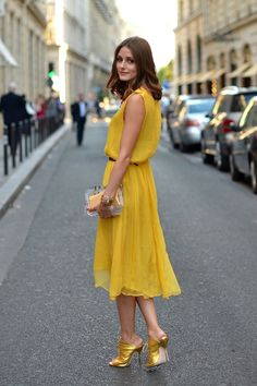 summer dress, color, style icons, the dress, street styles, olivia palermo, chiffon dresses, mustard yellow, gold shoes