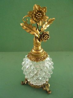 Vintage Antique Pressed glass perfume bottle gold tone floral stopper with glass dauber and stand
