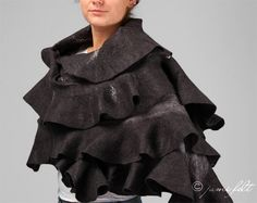 Felted shawl  Elegant Grey shades Wavy Ruffle  2 in 1 by JumiFelt, $140.00
