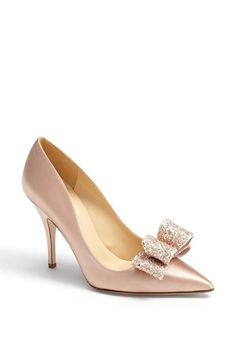 fashion, wedding shoes, heel, pumps, pink, bow, york lynda, kate spade, gold satin