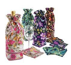 Finally...wine bottle gift bags by Vera Bradley!