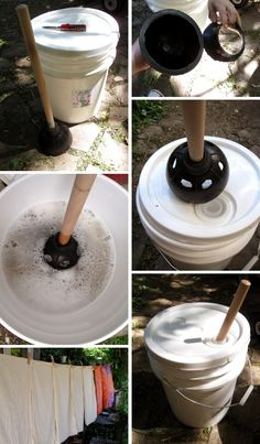 HowTo make self-agitating washer ~ 5 gallon bucket with lid to prevent splashes . centered hole is better, ready-made or cut your own . modify RED toilet plunger by *carefully* cutting away inner rubber flap and 3-6 quarter-size holes around perimeter (reduced suds = less rinsing) . put 1/4-1/3 detergent as usual in bucket, fill half-way with hot water (or cold?) . dump in clothes, plunge, then rinse (twice if needed) . wring out water, hang to dry . longer handle much easier to use