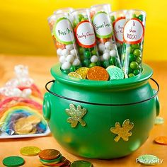 Empty out the clear reusable tubes these mini gumballs come in, then layer them back in and add personalized tags to make St. Patty's Day favors in the colors of the Irish flag.