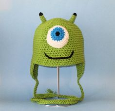 Crochet Pattern PDF One Eyed Monster Hat. Beanie and Earflap. (All Sizes Included: Newborn to Adult). Permission to sell finished items. via Etsy