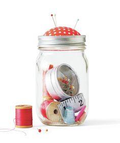 Mason Jar as a Sewing Kit