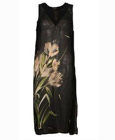 Vintage Print Chiffon Dress with V Neckline