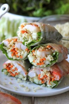 Roasted Quinoa Spring Rolls with Spicy Peanut Sauce
