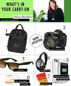 What's In Your Carry-On with @Alison Hotchkiss of Alison Events. #heycaryl