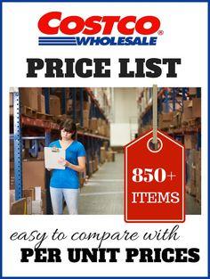 Costco Price Comparison List -- this is so helpful!
