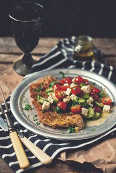 Veal Scallopini with Kalikori Olive Oil Greek Salad | The Gouda Life