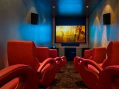 Futuristic home theater is a comfy place for movie night.