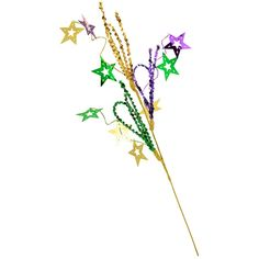 Festive Mardi Gras Stars & Sequin Loop Spray: 24-inch