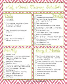 FREE Cleaning schedule printable!