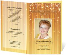 Beautiful Sparkly Contemporary Designs : Brilliance Preprinted Title Funeral Order of Service Letter Single Fold Program Templates. Available in gold (shown), blue, green, pink, and red.