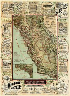 Vintage California bike map