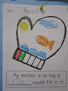 We read The Mitten, sequenced the story (using the printables on Jan Brett's website and glued the mitten on a brown paper bag to keep all their characters in one spot.) and wrote about an animal that could fit in our own mitten.