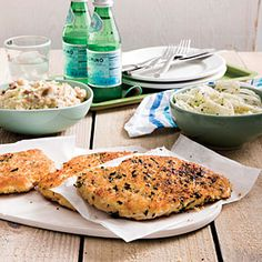 Chicken Schnitzel and Smashed Mustard Potatoes | Cooking Light #myplate #protein #dairy