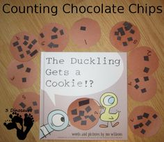 Counting Chocolate Chips – Duckling Get a Cookie - a fine motor and counting activity - 3Dinosaurs.com