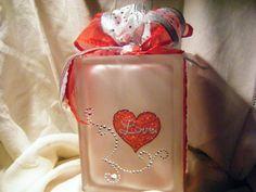 VALENTINE LOVE Decor Glass Block with White Mini by CaroleGCreates
