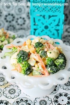 http://backforsecondsblog.com #broccoli #cauliflower #cheese #salald