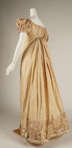 Silk evening dress:, England, ca. 1822.
