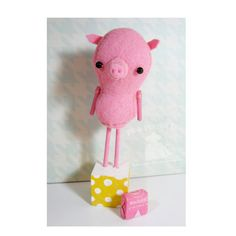 Tabletop Soft Sculpture  Paisley Pig  Original by PigAndPumpkin