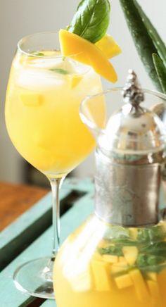 Pineapple, Mango, and Basil Sangria