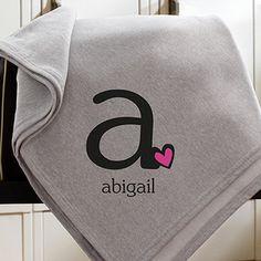 Heart Felt Monogram Personalized Sweatshirt Blanket