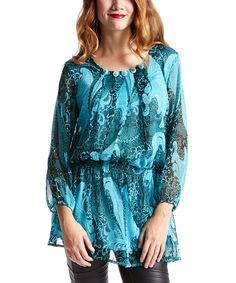 Turquoise & Gray Baroque Silk-Blend Blouson Top  you love this brand