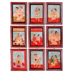 Set of 9 Kama Sutra Paintings on Glass  India  mid 20th century  Erotic reverse painted glass paintings depicting scenes from the Kama Sutra. The paintings are examples of hundreds that covered the walls of a deposed Indian Prince. Simple wooden frames.