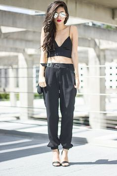 80's Purple Mirrored Aviators, Alexander Wang Silk Bralette, Zara Trousers, Tibi Heels