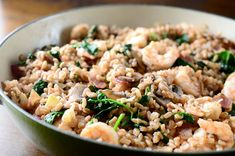 Recipe for Farro with Shrimp, Bacon, Mushrooms and Spinach at Life's Ambrosia
