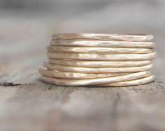 Gold Stacking Rings - NINE Ultra Thin Hammered Gold Dust Stacking Rings - Delicate Simple Rings Chic Holiday Fashion Winter Fashion
