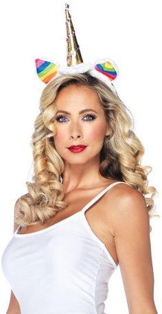 Sexy Rainbow Unicorn Headband Women's Adult Halloween Costume Accessory NEW   eBay