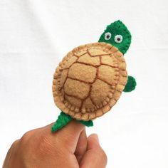 Turtle Felt finger puppet animal puppet by KRFingerPuppets on Etsy