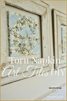 StoneGable: TORN NAPKIN ART TILES DIY