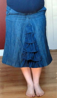 Upcycled denim maternity skirt