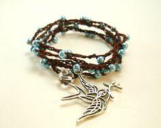 New, Crochet Wrap Bracelet, Mother's Day SALE, Long Crochet Necklace, Bird Charm Bracelet, Brown Blue Necklace,. $25.00, via Etsy.