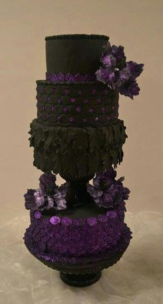 wedding cake toppers, black weddings, gothic wedding, elegant cakes, tiered cakes, art, halloween weddings, purple cakes, purple wedding cakes