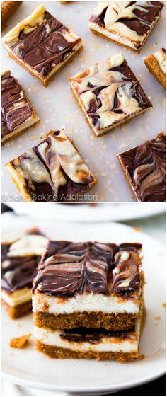 nutella swirl, creami cheesecak, cheesecake bars, swirl cheesecak, graham cracker, cheesecak bar