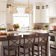white kitchen cabinets, kitchen storage, light fixtur, kitchen cabinetry, kitchen layouts, subway tiles, white cabinets, island, white kitchens