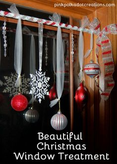 Pink Polka Dot Creations: Beautiful Christmas Window Treatment! Easy to make and looks great from the inside of your house as well as from the outside!