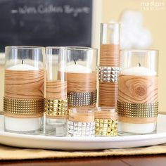 DIY faux bois studded candle centerpiece - madiganmade.com
