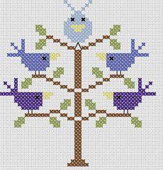 Stickeule: A bird tree pattern