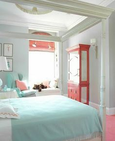Coral pink and turquoise color concept   girls room