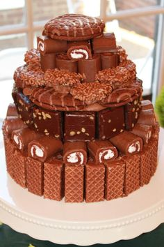 Little Debbie Cake...Two round chocolate cakes, everything else stuck on with Chocolate icing and toothpicks!