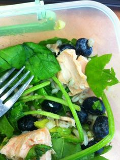Spinach, salmon, barley and blueberry salad for #7DayDetox lunch.
