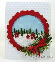 Pine Tree Snow Village by kittie747 - Cards and Paper Crafts at Splitcoaststampers  pine tree border + country landscape