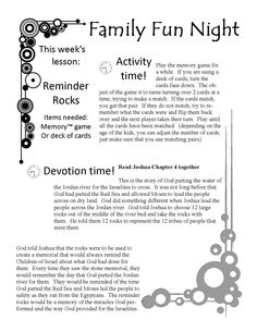 Free Family Fun Devotion Time. Printable game, lesson, activity great for Sunday School, small groups or family time