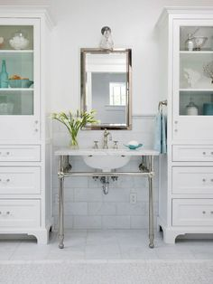 Vanity Area with Furniture-Style Cabinets